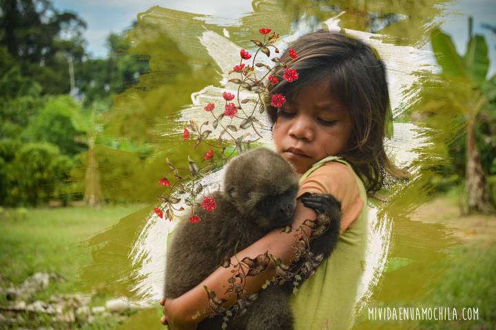 Una nena de la etnia Siona a las orillas de río Cuyabeno. Ilustración de Jazz Buitrón.